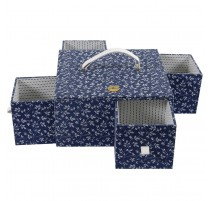 DMC Nähkorb mit Schubladen - Fleurs Bleues