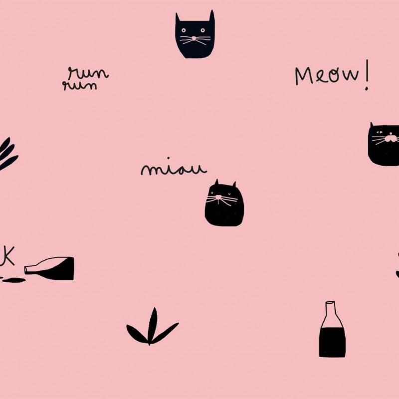 Tela Katia Pink Milk Meow