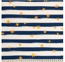 Baumwollstoff MezFabrics - Beach Days Stripes Blue