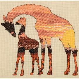 Kit Punto de Cruz - Giraffes Silhouette - Anchor Maia Collection