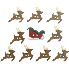 Botones Sew Cute Sleigh/Reindeer - Dress It Up