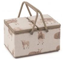 Nähkorb mit zwei Deckeln - Linen Sheep