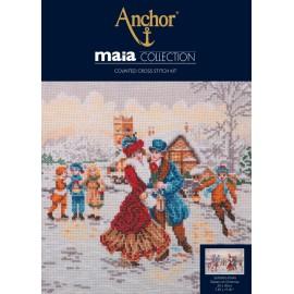 Kit de Bordado - Skaters at Christmas - Anchor Maia Collection