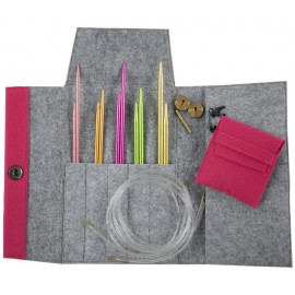 Set de Agujas Circulares Intercambiables Colour con Estuche de Fieltro - Pony