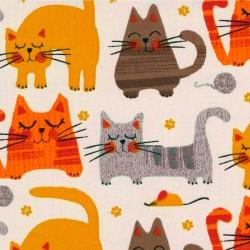 Cretonne Stoff - Kätzchen -...